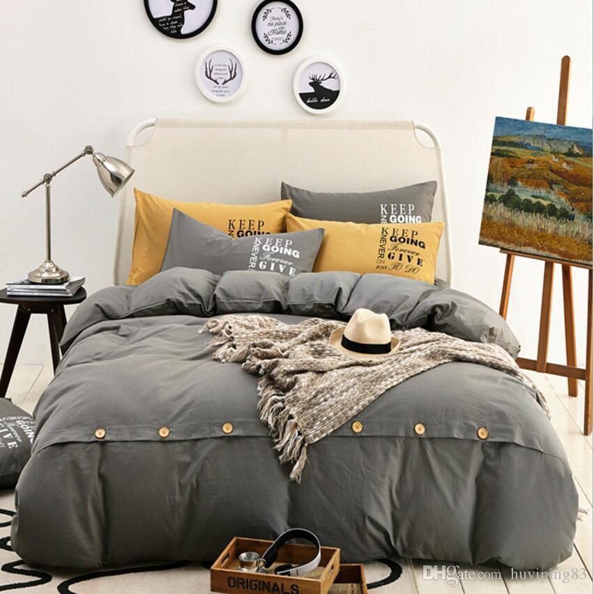 100% Cotton Bedding Set Solid Color Brief Gray Duvet/Quilt Cover Flat Sheet Pillowcase Home Decoration King Queen Twin Size