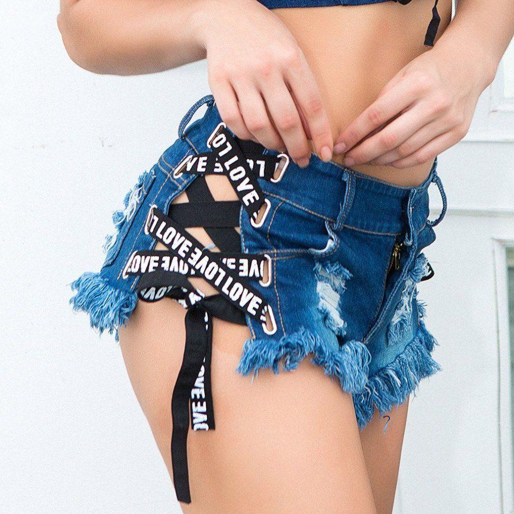 57823d0a2ed3 Sexy Summer Women Denim Ripped Hole Short Jeans Flaco de talle alto de la  borla Lace Up Bandage Mini Shorts Hotpants