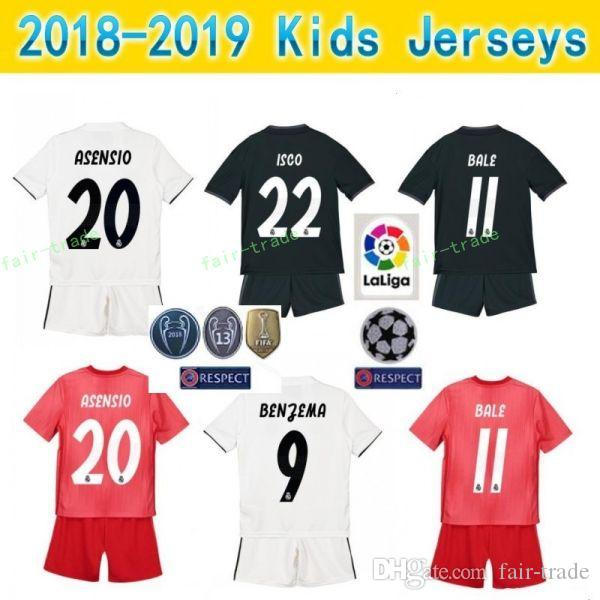 cheaper 9b0bf 07088 Youth Real Madrid Jersey Kids Set Soccer 2018 2019 La Liga MODRIC SERGIO  RAMOS BALE ASENSIO ISCO NAVAS Football Shirt Kit Uniform Children