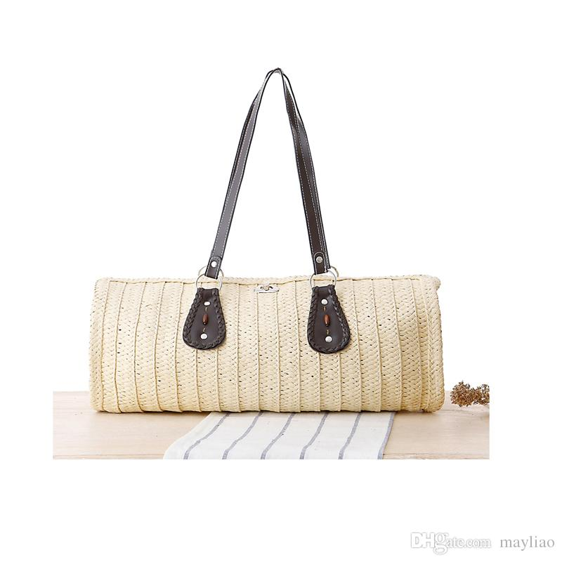 Woman Hand Bag 2018 Summer Fashion Top Handle Tote Bags For Women Vintage Crochet  Straw Woven Handbags Female Casual Beach Shoulder Bag Handbags Sale Cotton  ... b794b8724f