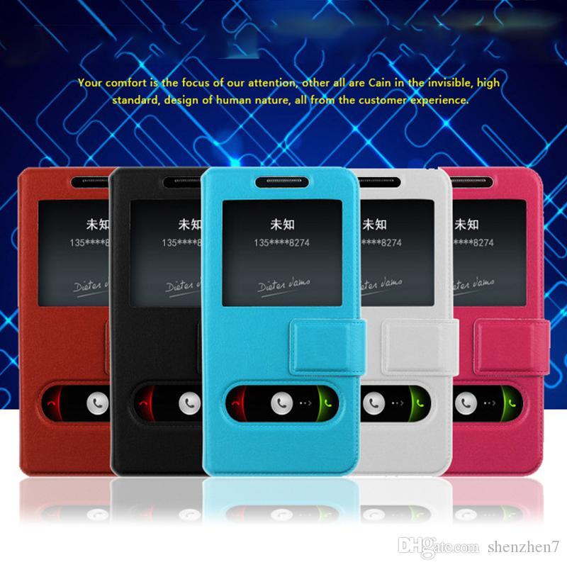 hot selling general smarter phone case back cover with 2 scree windows 4 size to choose for 3.5-5.5 inch cell phone DHL SCA390