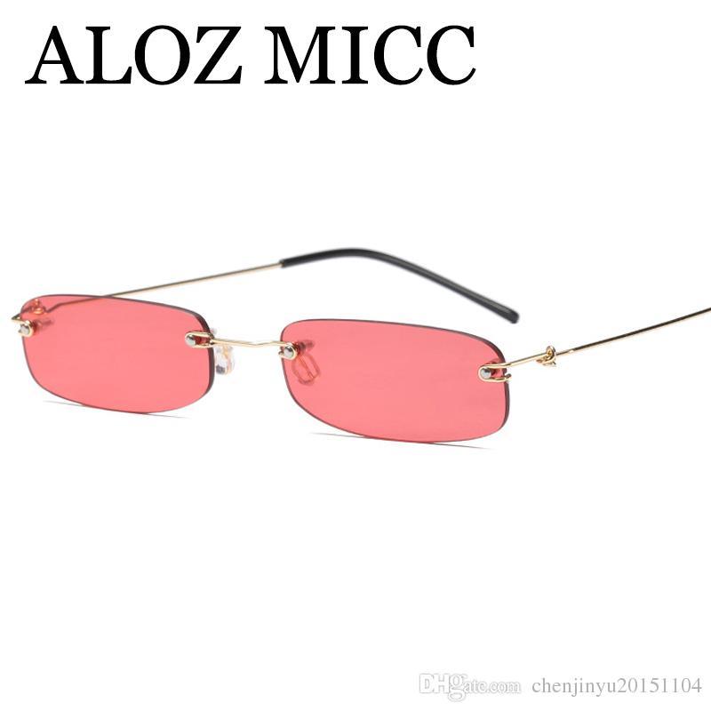 205e41b8eba ALOZ MICC Fashion Rimless Women Rectangle Sunglasses 2018 Square Trend  Small Frame Metal Eyewear For Female Oculos UV400 A540 Sunglasses Hut  Reading Glasses ...