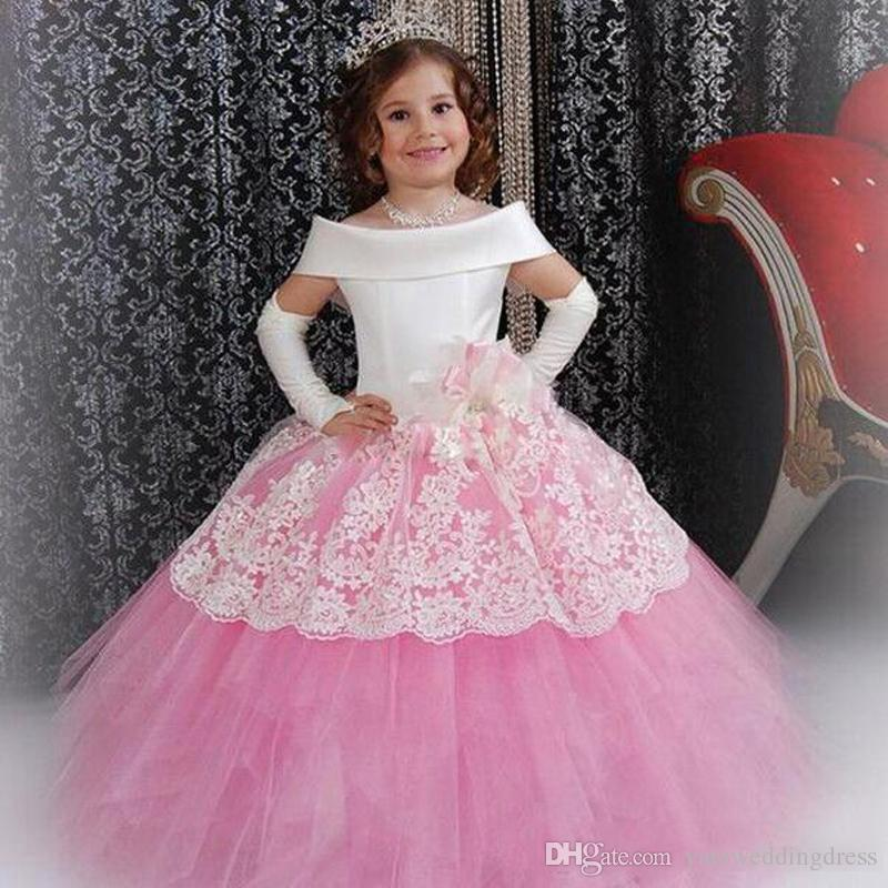 Lovely White And Pink Flower Girls Dresses Short Capped Sleeves Birthday Gowns Tiered Ruffle Custom Made Formal Party Gowns Back Lace-Up