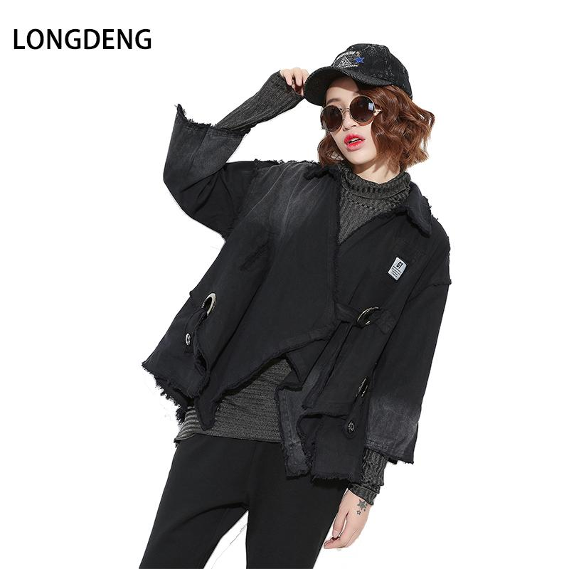 [LONGDENG] New 2018 Autumn Fashion Trench Coat Large Size Denim Wash Dark  Black Personality Gradient Sweater Women Clothes 17692
