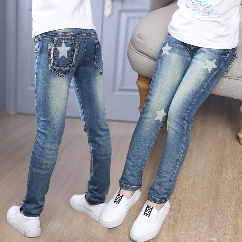 c9d0be335 Children denim Pants girls ripped jeans baby kids start leggings autumn  children's clothes girl cotton casual pencil trousers