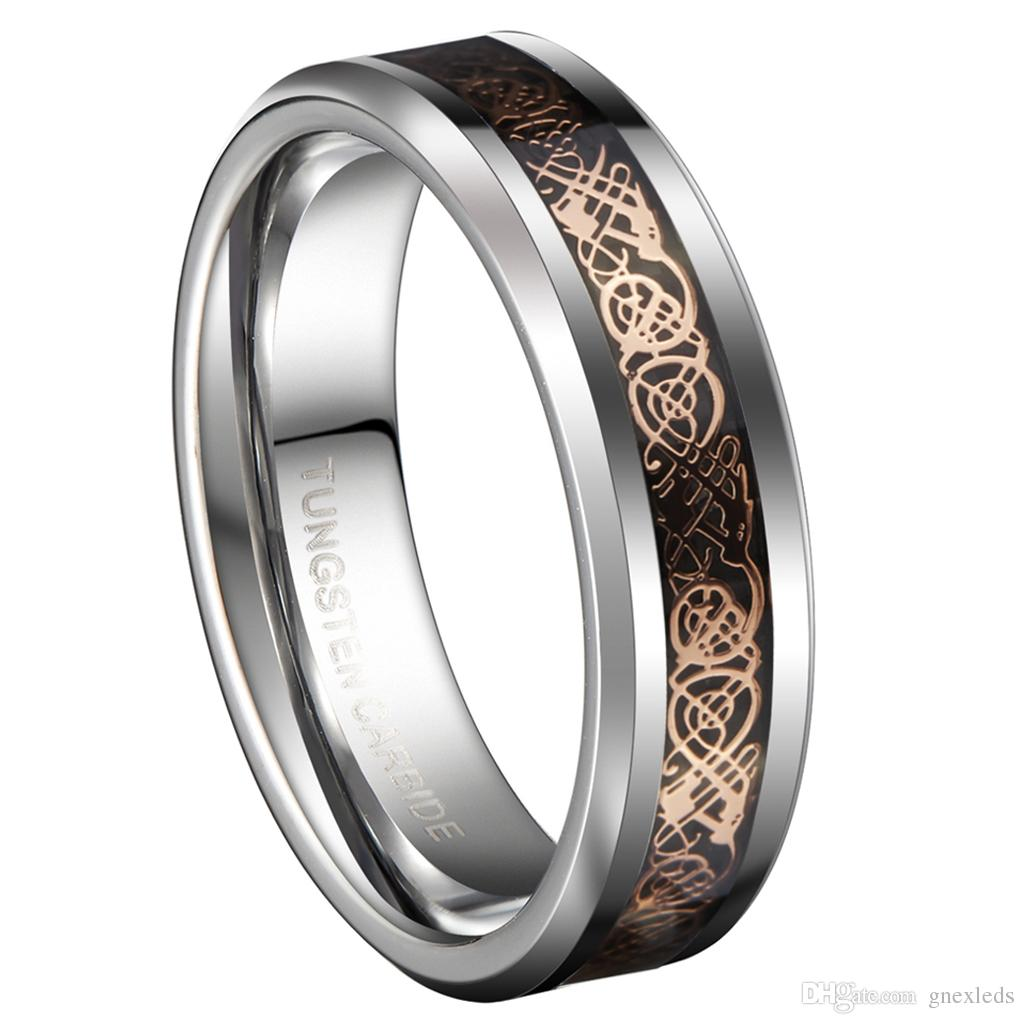 2019 6mm Tungsten Carbide Wedding Bands Rose Gold Color Celtic Dragon Couples Rings Sets Fashion Jewelry From Gnexleds 180 Dhgate: Tungsten Wedding Band Sets For Women At Websimilar.org