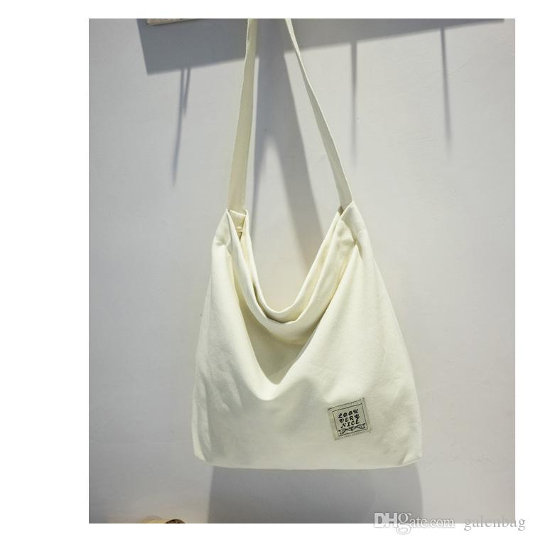 2017 fashion personalized contracted style Pure colour hobo bag oversized canvas cotton shoulder bags