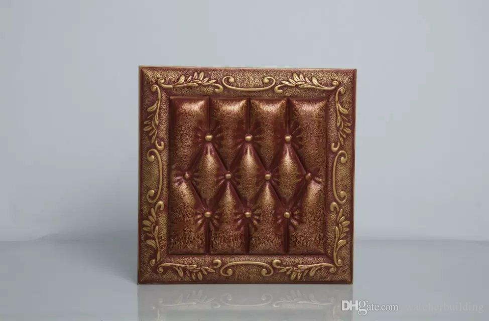 factory price faux leather 3d wall panels leather wall sticker with