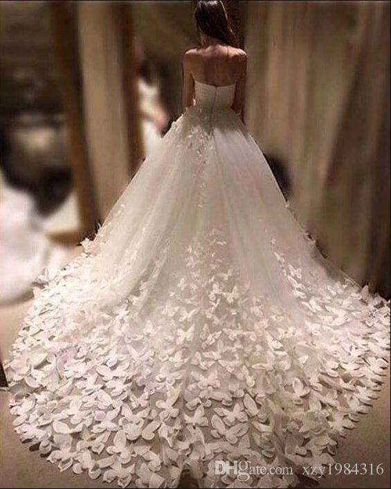 b8bd9e4741 Modern Fashion Wedding Dresses Sweetheart Butterfly Formal Bridal Gowns  Long Cathedral Train Tulle Bridal Gowns Custom Made Free Shipping