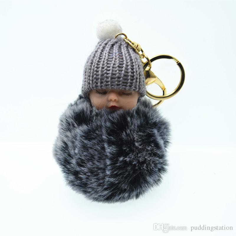 Cute Fluffy Sleeping Baby Keychain Pompom Rabbit Fur Ball Key Chain Car Keyring  Women Key Holder Bag Pendant Charm Jewelery YEE4321 Designer Keyrings Monkey  ... 9fc0abd120