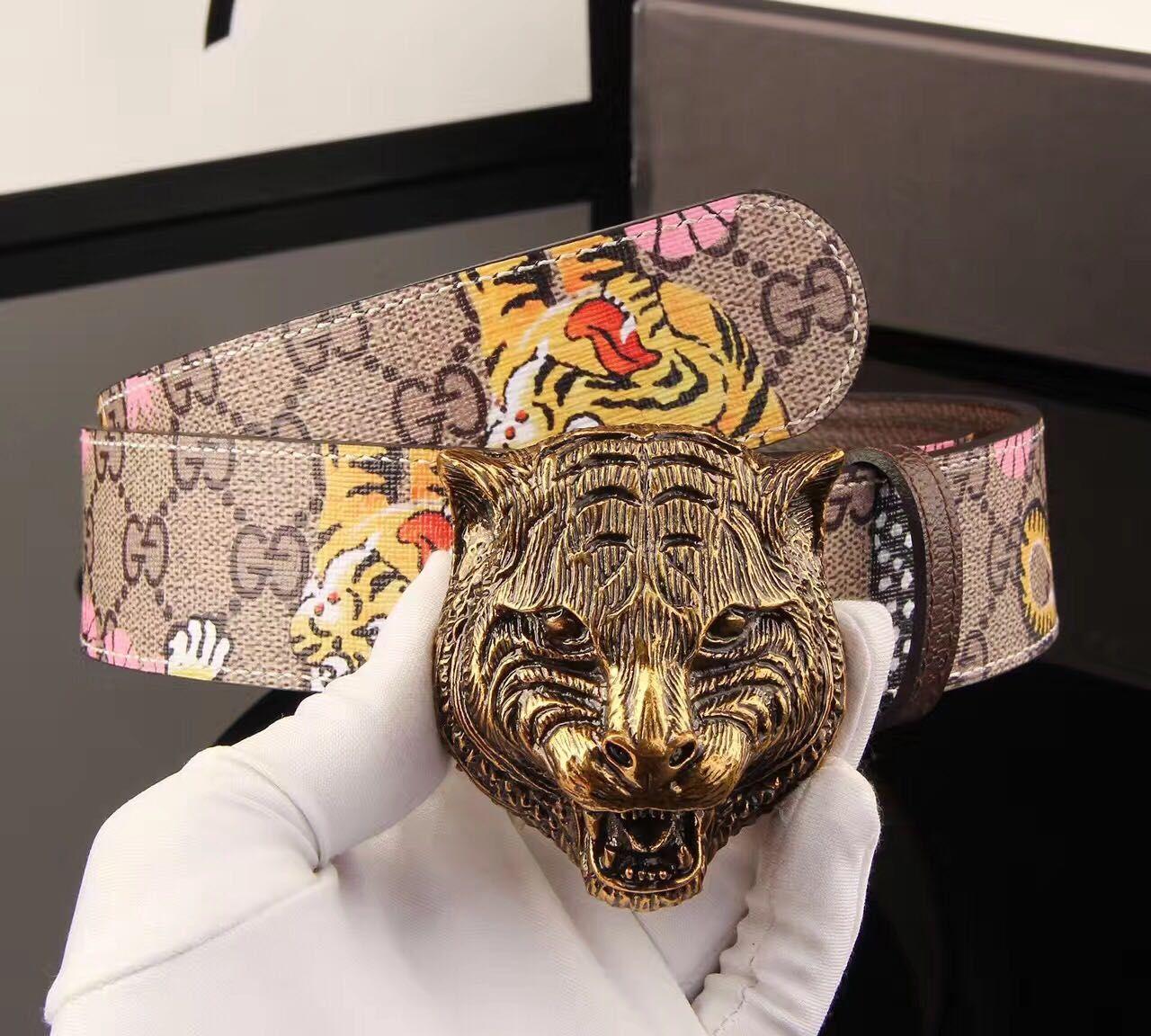 f7cefcec63a 2018 New Fashion Brand Designer Belt Tiger Buckle Luxury Men S High Quality  Belt