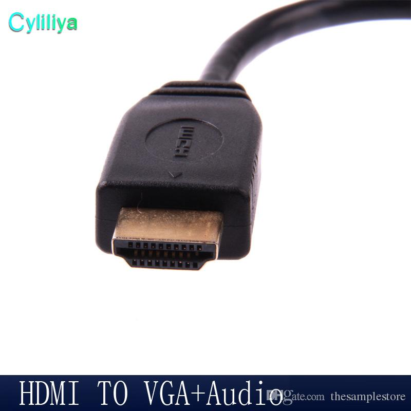 HDMI Male to VGA Female Video with Audio Output Cable 1080p HD Converter Adapter Connector for PC DVD Monitor Projector TV Xbox Hot Selling