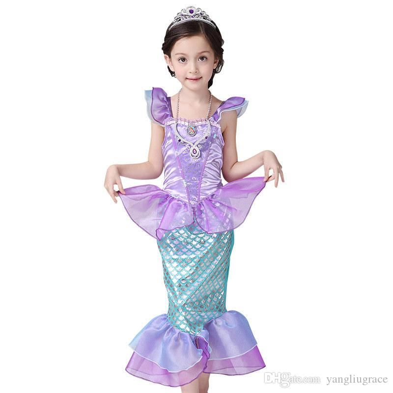 2018 Baby Girl Mermaid Costume Children Clothes Little Mermaid Fancy Kids Girls Dresses Princess Ariel Cosplay Halloween From Yangliugrace $12.14 | Dhgate.  sc 1 st  DHgate.com & 2018 Baby Girl Mermaid Costume Children Clothes Little Mermaid Fancy ...