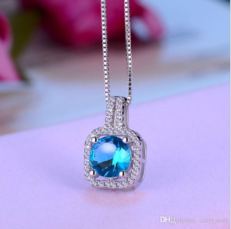 Простые корейские мода ювелирных изделий стерлингового серебра 925 6 Цвета Цирконий Round Cut Алмазного CZ Бриллиантовых женщины Симпатичная Chian ожерелье подарки