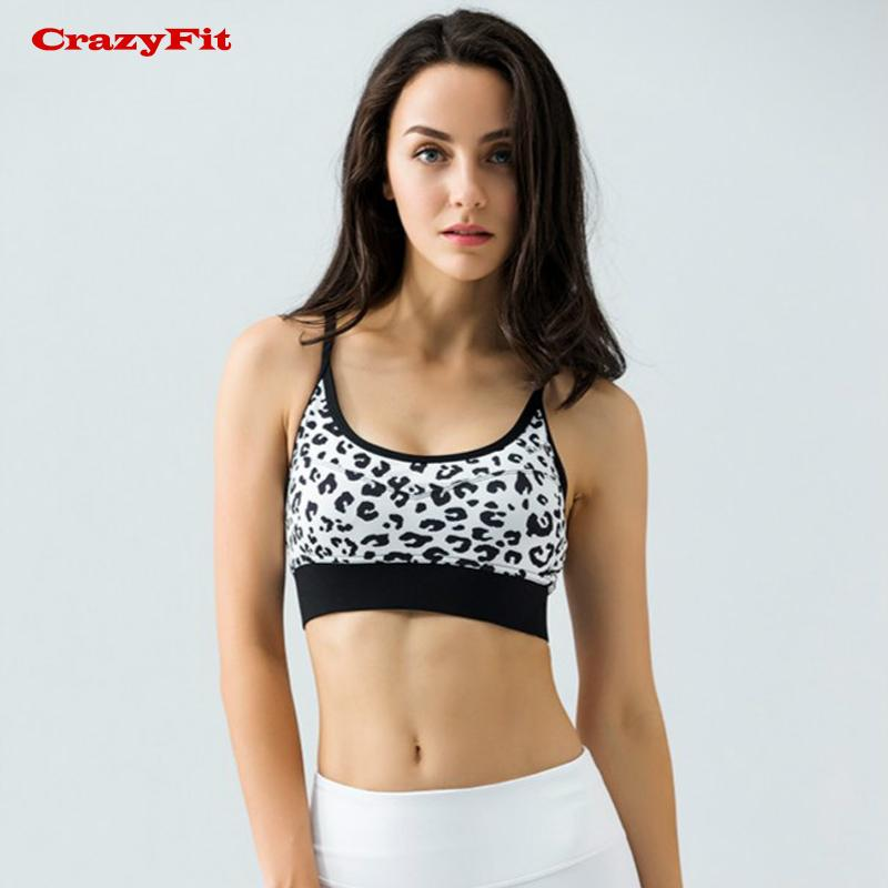 118ff7a24f 2019 CrazyFit Womens Sports Bra Running Yoga Fitness Gym Push Up 2017  Cropped Print Breathable Leopard Underwear Sexy Sportswear Sale From  Simmer