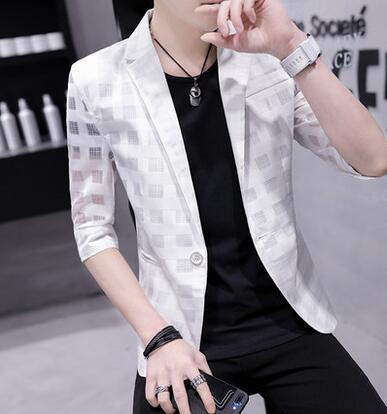 Малый костюм мужской костюм с семью точками рукава корейский тонкий полые студенты лето случайный мужской пиджак пиджак masculino M - 3XL