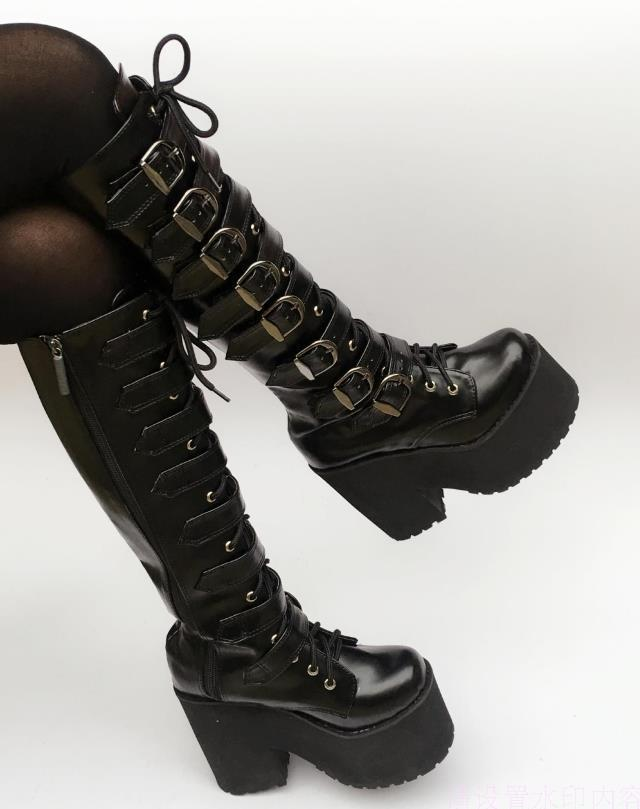 7f7da9ff0026 Japanese Harajuku High Platform Chunky Heel Cosplay Knee High Boots Women  Black Leather Belt Buckle Gothic Punk High Boots Zip Womens Boots Boots Uk  From ...
