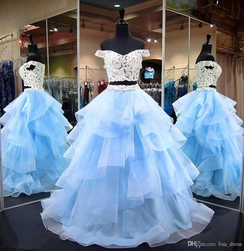 489a36d777 Baby Blue Ball Gown Prom Dresses Off Shoulder Appliques Lace Top Tiered  Organza Plus Size Prom Dresses Sweet 16 Dress Quinceanera Dress School Prom  Dresses ...