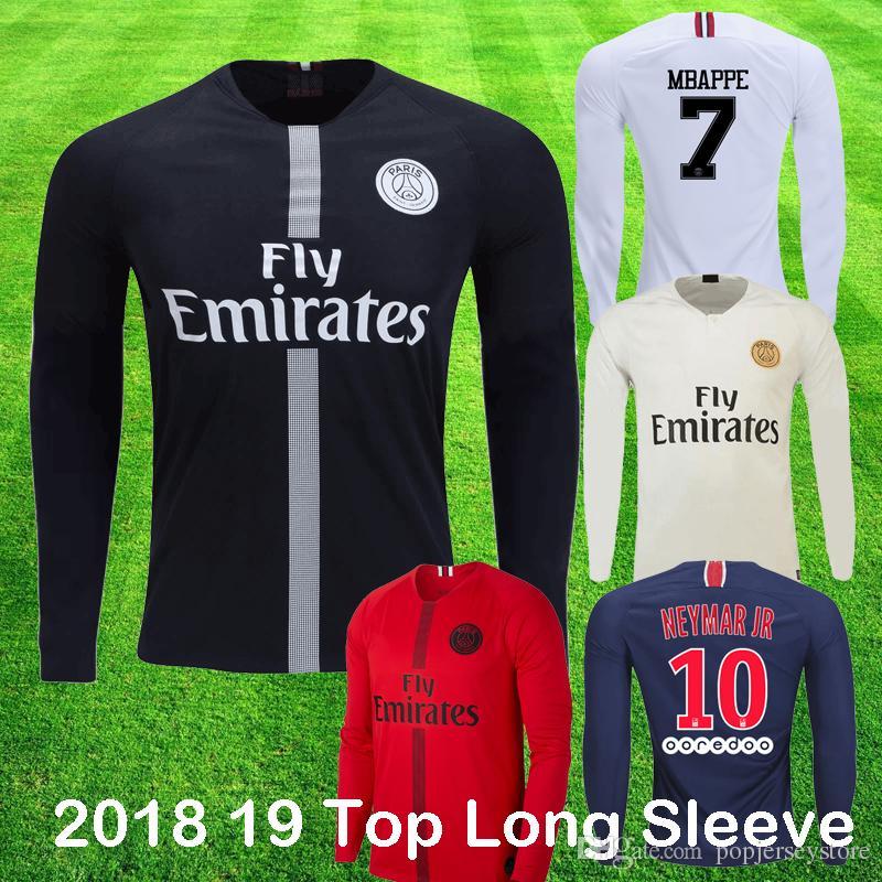 big sale f217b 04fcb 2018 19 psg Champions Long Sleeve soccer jersey MBAPPE CAVANI KIMPEMBE DI  MARIA VERRATTI Black White Full sleeve Football Shirt Top Quality