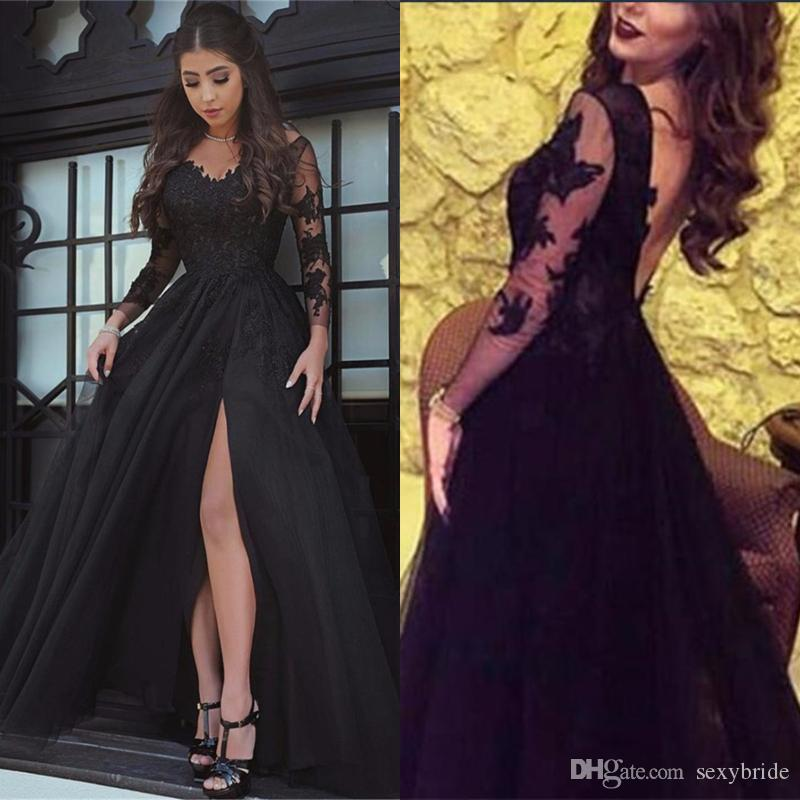 82cb29598af1 Sexy Black Open Back Side Slit Lace Evening Gowns Sheer Long Sleeve Sexy Black  Prom Dress Floor Length Formal Party Evening Dresses Evening Dresses Shop  ...