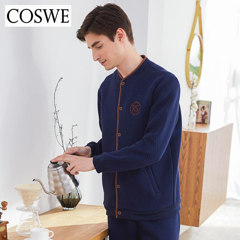 1fb801b589 COSWE New Cotton Winter Sleepwear Mens Pajama Sets Long Pijama Male Pajamas  HommWarm Mens Homewear Masculinos Pijamas Suits XXXL UK 2019 From Xiayuhe