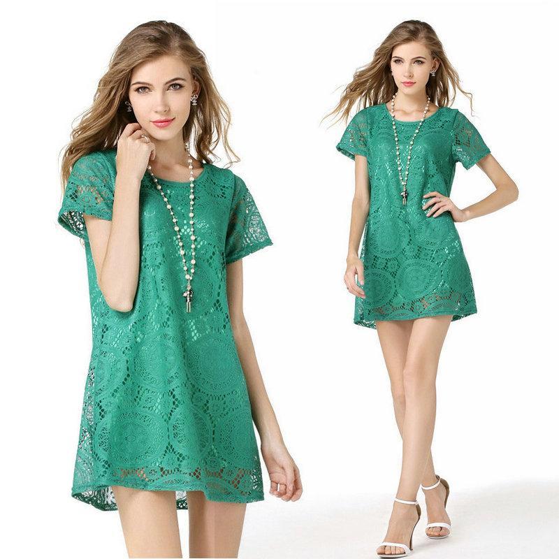 Sexy Lace Dress Short Sleeve Women 2018 Summer Lace Mini Dresses ... bf95e9cf0
