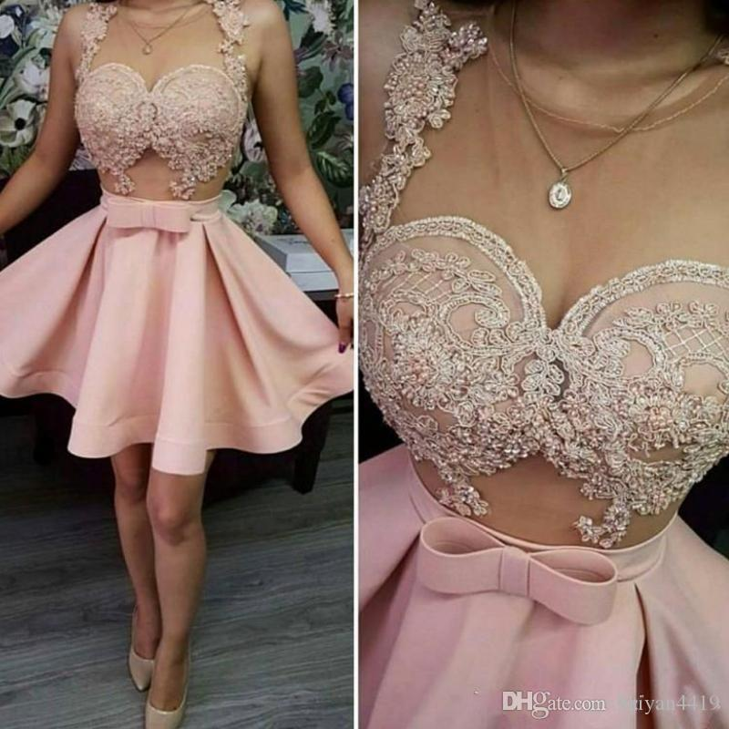 bfe40d07900 2018 Cheap Cocktail Party Dresses Blush Pink Sheer Neck See Though Applique  Beaded Crystal Graduation Short Mini Homecoming Girls Prom Gowns Long  Sleeve ...