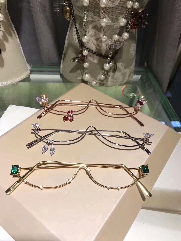 2018 Gem fashion decorative glasses frame mens and womens glasses eyeglasses oculos de grau men and women eyeglasses frames