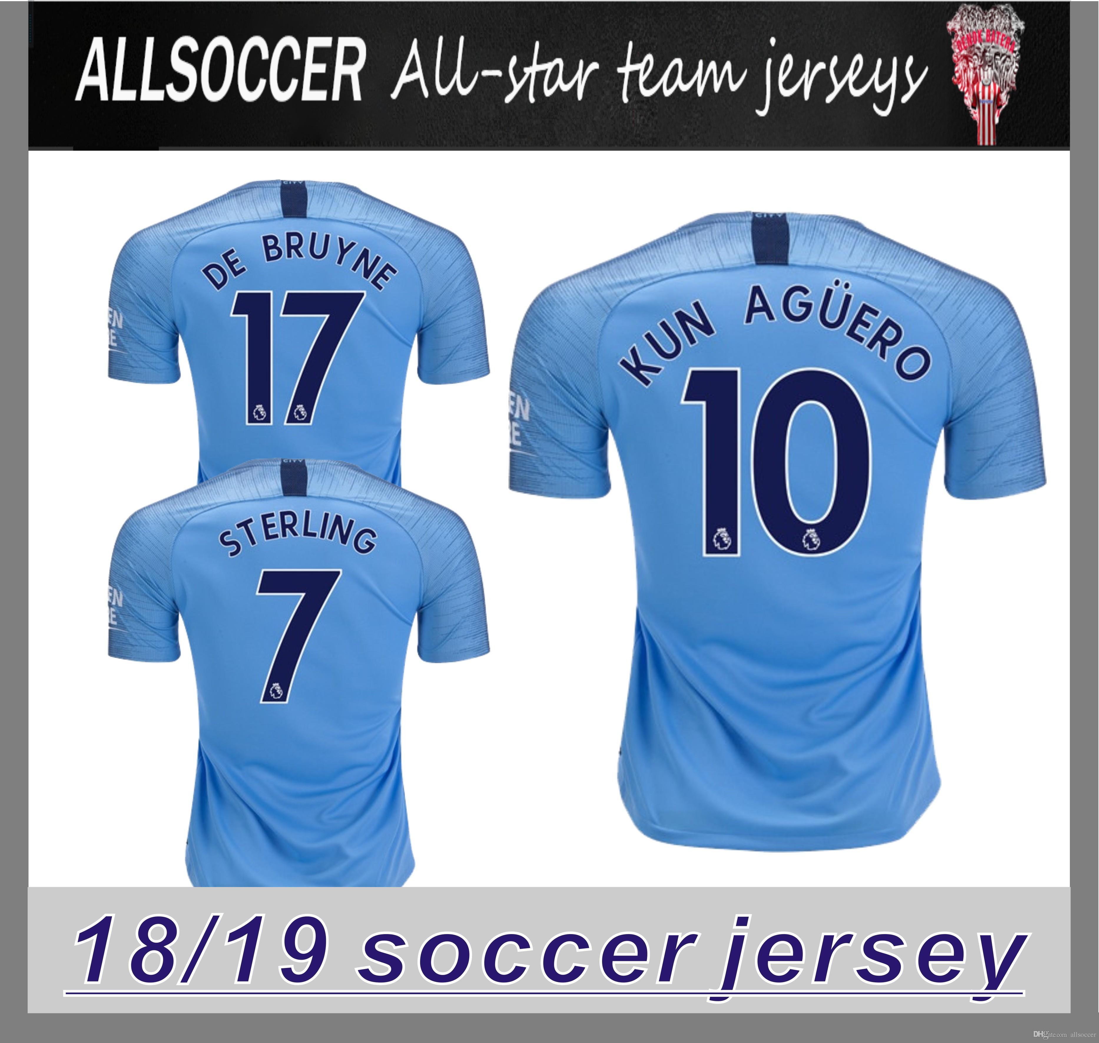 aaaa8f06233 2019 KUN AGUERO MAN STERLING CITY Soccer Jersey 18 19 Home G JESUS ...