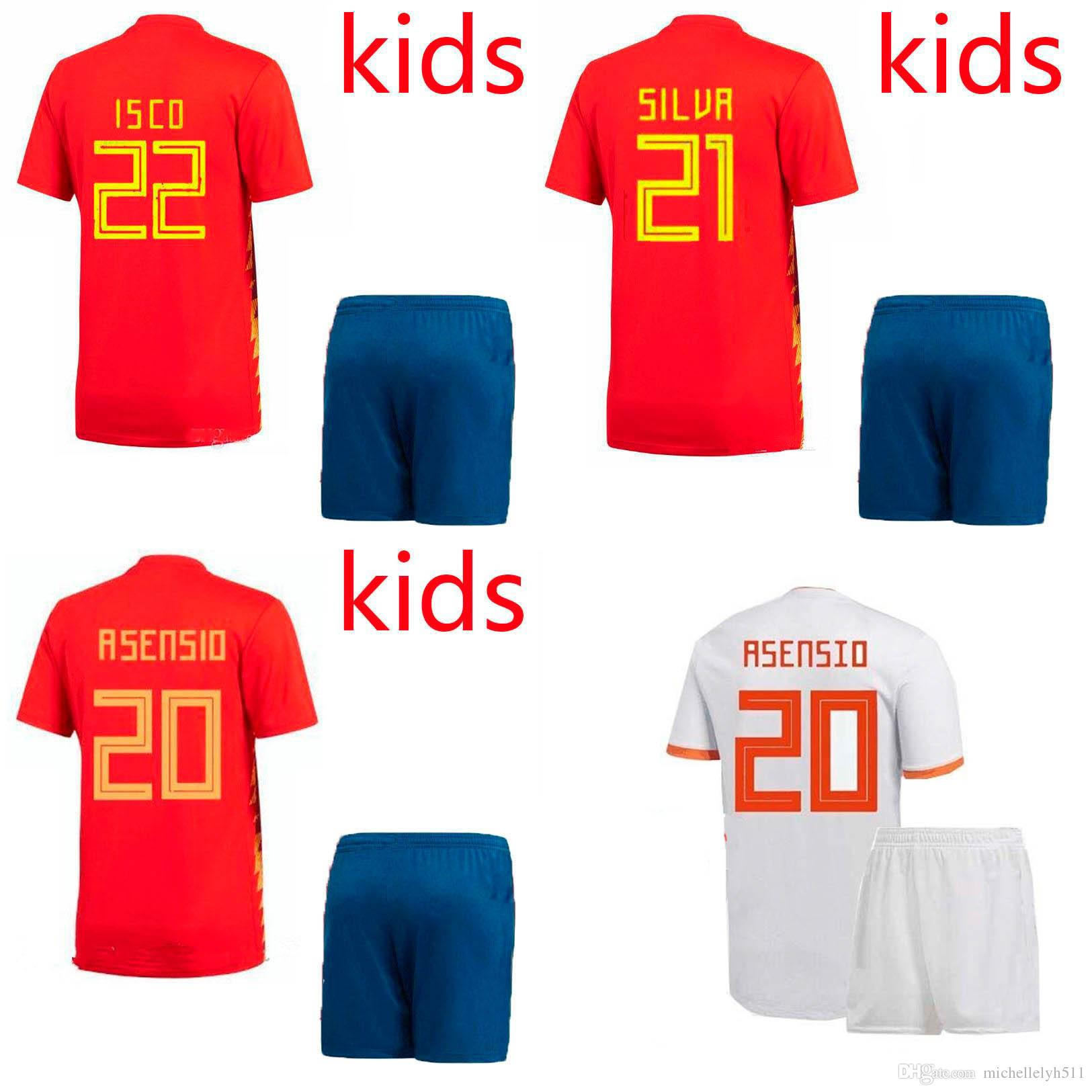 935177fa0 18 19 Kids Spain Soccer Jersey Short ESPANA Boys Thai Quality World ...