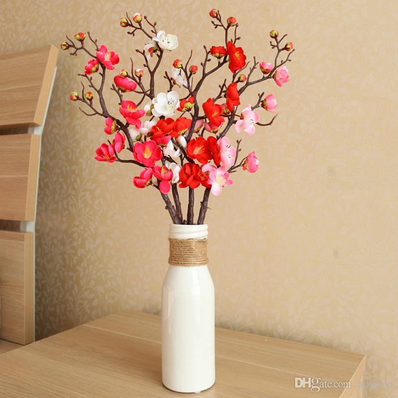 2018 90cm 32heads Cherry Blossom Plum Silk Flower Artificial Plant
