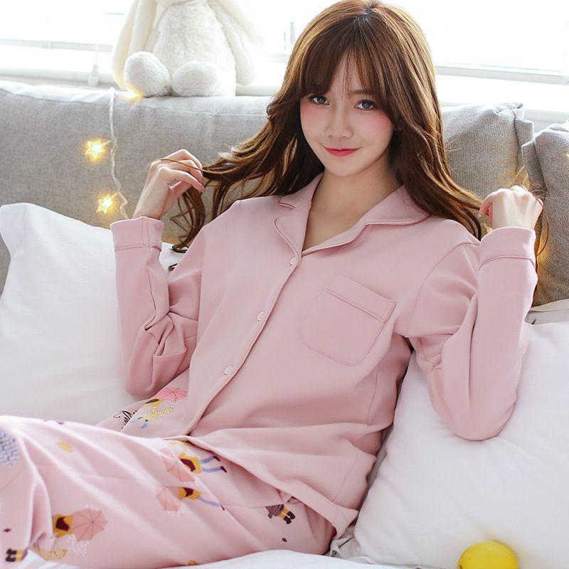 377d1b12d2 Compre Foply Nuevo Listado Foply 2018 Pijamas De Primavera Cartón De Mujer  Pijama Lindo Pijamas Patrón Conjunto Delgado Pijamas Mujer Ropa De Dormir  Al Por ...