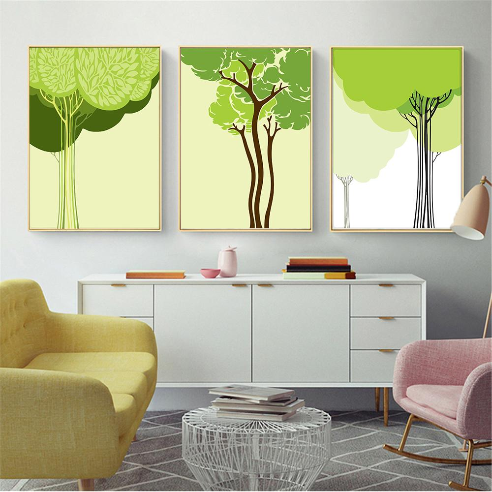 2018 Living Room Or Bedroom Decor A4 Prints Spring Green Tree ...