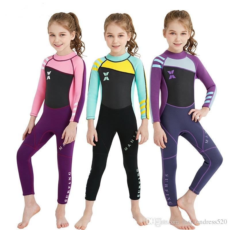 3b22c38803 2019 Long Sleeve Kid Swimsuit Boy Girl Swimwear Children One Piece Surfing Diving  Suit Fifth Pants Swimming Bodysuit Free DHL From Fashiondress520, ...