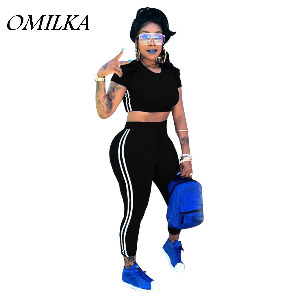 e5ca577fcff02 2019 OMILKA 2018 Summer Women Side Striped Crop Top Long Pants Set Casual  Black Blue Red Short Sleeve Tracksuit Sets Femme From Ellen0508