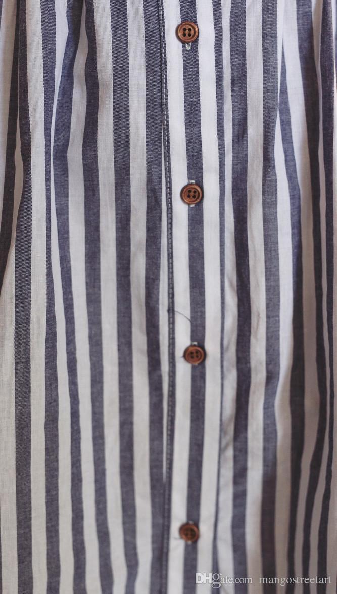 Frauen Sommerkleider Baumwolle und Leinen Rückenfreies trägerloses Spaghettiträgerkleid Blau gestreift lässig Feminino vestidos