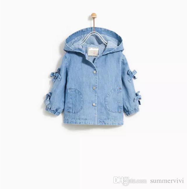 26db872ae782 Autumn Kids Jeans Outwear Girls Hooded Bows Tie Long Sleeve Denim ...