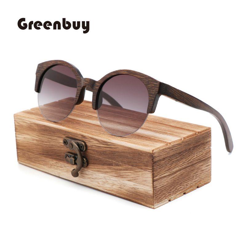 f1b74a1bd Semi Rimless Brown Bamboo Sunglasses Women Polarized Brown Sunglasses Wood  Bamboo UV400 Oculos De Sol Feminino Cat Eye Sunglasses Round Sunglasses  From ...