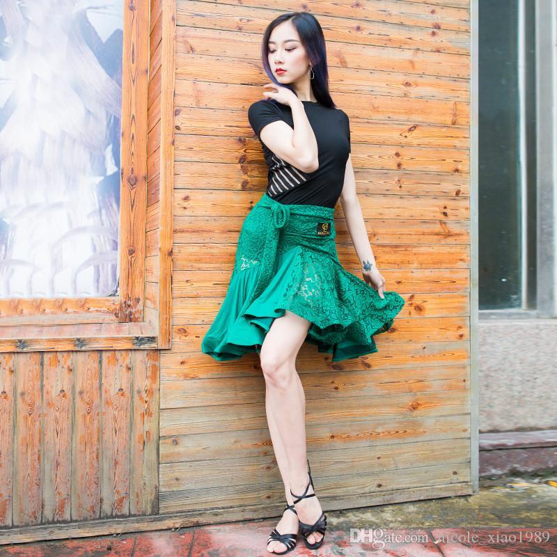 Ücretsiz Kargo Yeşil Yetişkin / Kızlar Latin Dans Elbise Salsa Tango Chacha Balo Salonu Rekabet Dans Elbise Dantel Dikiş Kılçık Etek