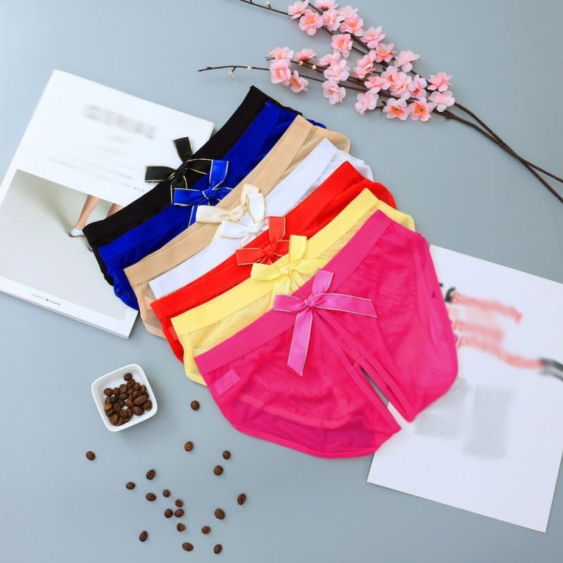 Sexy Women Lace Bragas abiertas Ladies Sexy See Through ropa interior Women's Briefs Mujeres Bowknot Underwear