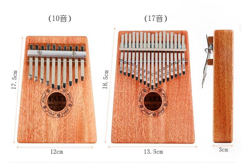 10keys / 17keys Sonidos Kalimba Likembe Finger Thumb Piano Teclado portátil Instrumentos musicales Finger Thumb Piano para principiantes