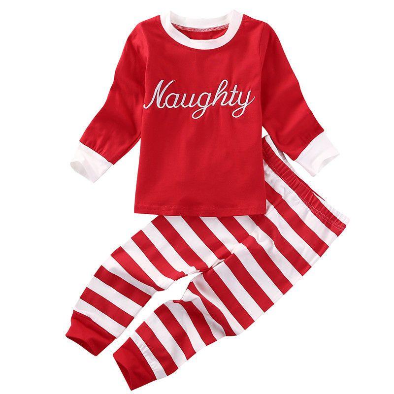 e0ce2136cec96 Acheter Tenues De Rayures De Noël Costumes Pour Enfants Bébés Filles  Vêtements Costumes Père Noël Rouge Vert Tenue Rayé Lettres Imprimé Pantalon  De  7.07 Du ...