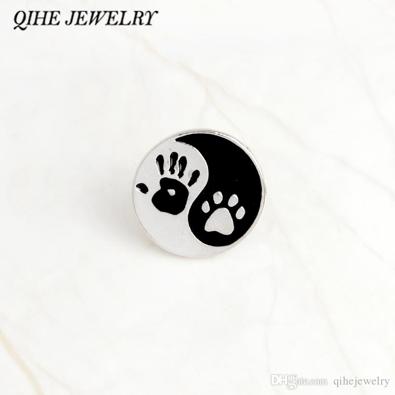 e4cd441d4263ca 2019 QIHE JEWELRY Taiji Ying Yang Black And White Round Pendant Human Hand  Print And Dog Paw Print Pins Lapel Pin Badge Best Friend From Qihejewelry,  ...