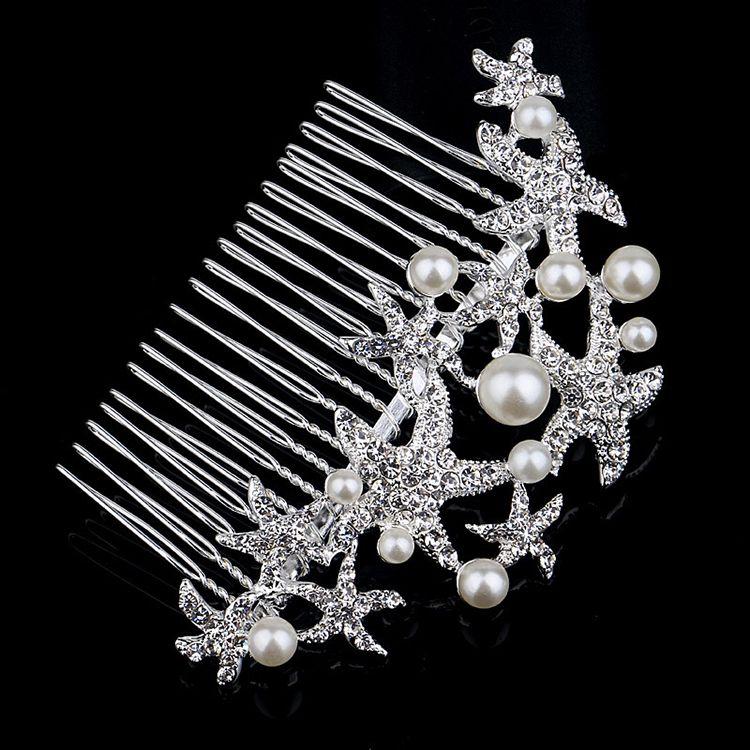 2019 Sıcak Satış Feis Toptan Zarif Denizyıldızı Pearldiamond Boncuklu Saç Dekorasyon Pins Kristal Takı Gelin Düğün Aksesuar Süsleme