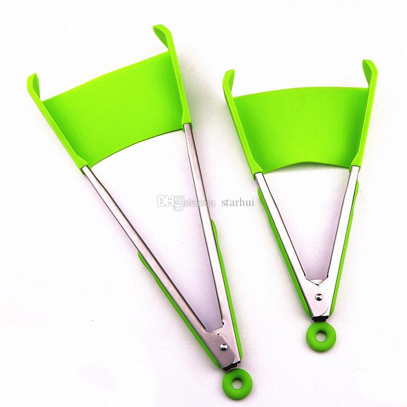 2-in-1 Clever Spatula Tong Kitchen Spatula Tongs Non-stick Heat Resistant Food Clip Grip Stainless Steel Accessories Free DHL WX9-451
