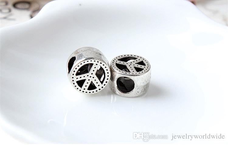 Unique Peace Round Alloy Charm Bead Fashion Women Jewelry Stunning Design European Style For Pandora Bracelet
