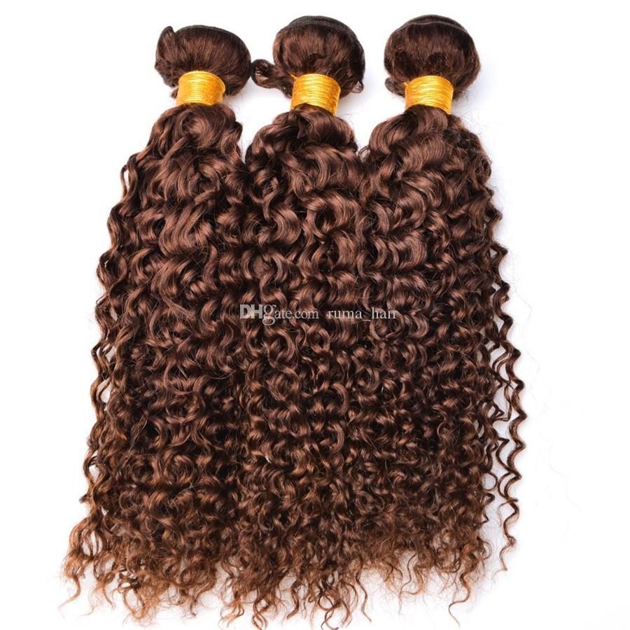 Brown Water Wave Human Hair Bundles Chocolate Brown Deep Wave Curly Hair Extension Brazilian Virgin Hair No Tangle No Shedding