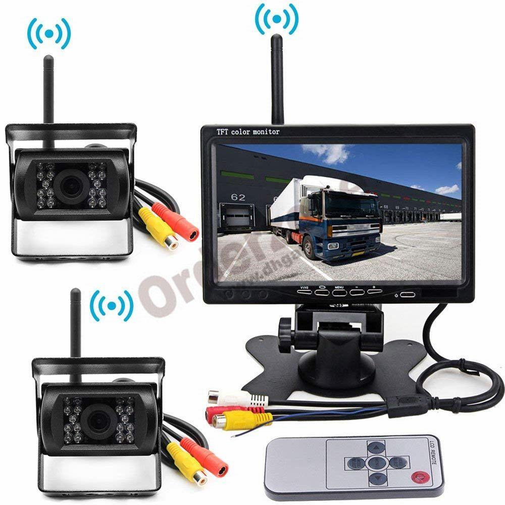 Wireless Vehicle Backup Camera Kit, 2 x 18 LED Parking Reverse Rear View  Camera 7 Car LCD Monitor 12V/24V for RV Truck Trailer Bus
