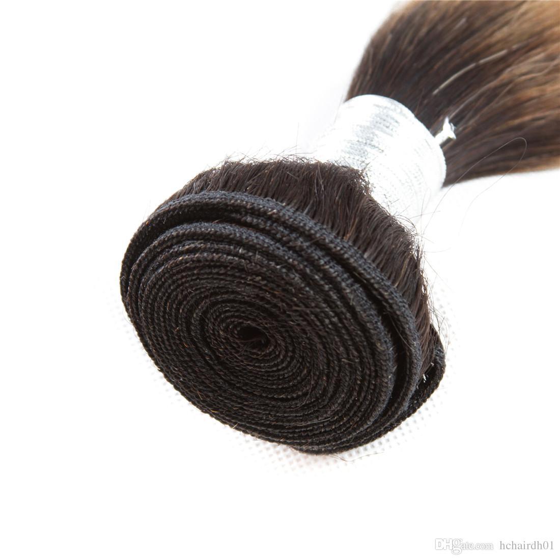 Cabello indio crudo pre coloreado 3 paquetes con cierre 1b 27 Ombre El cabello humano recto rubio teje los paquetes con cierre 100% cabello humano