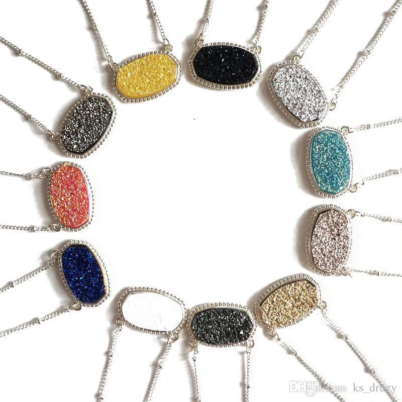 Hot Gold-Silber überzogene Drusy Druzy Halskette Art-Tropfen-Ohrring-Schmuck Große Art Glitter Druzy Halsband für Frauen Set